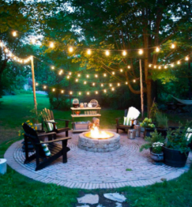 Outdoor Fire Pit String Lighting Ideas