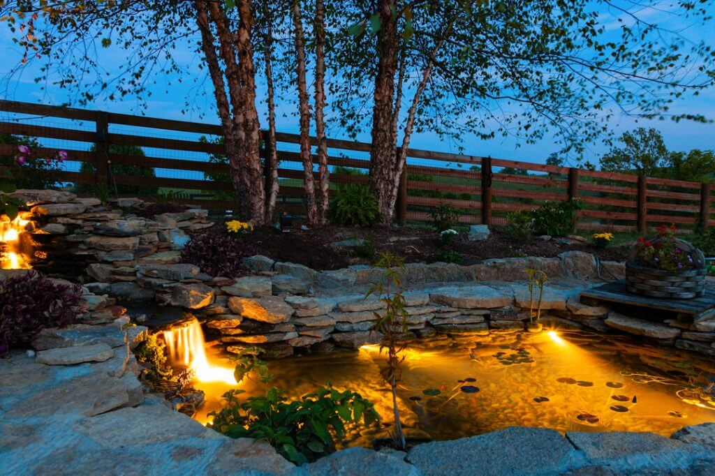 Water pond waterfall feature