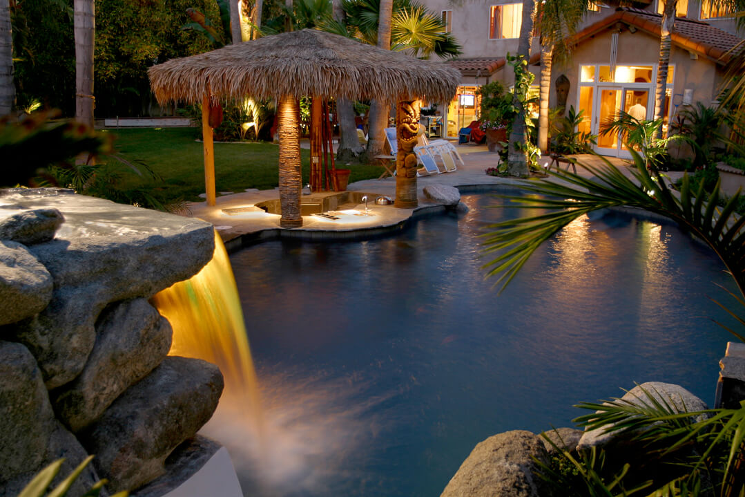 Waterfall Pool Lighting